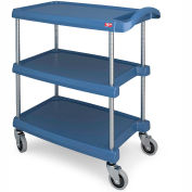 "Metro myCart™ Three-Shelf Utility Cart with Chrome-Plated Posts - 25x18"" Shelves Blue"