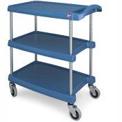 """Metro myCart™ Utility Cart With Chrome Posts, 3 Shelf, 25""""Lx18""""W, Blue"""
