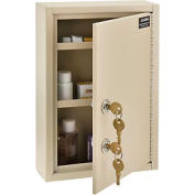 """Global™ Medical Security Cabinet with Double Key Locks, 8""""W x 2-5/8""""D x 12-1/8""""H, Beige"""