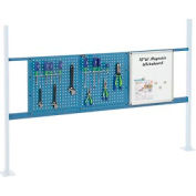 "Panel Kit for 72""W Workbench with 18""W Whiteboard and 36""W Pegboard, Mounting Rail - Blue"