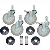 "Nexel - 5"" Swivel Stem Casters CA5SBS, SS, Poly Wheels Set of (4) W/Bump & (2) Brakes, 1200 lb Cap"