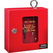 "Global Emergency Key Box, 6-1/4""W x 2""D x 6-7/8""H, Keyed Alike, Red"