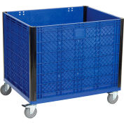 "Easy Assembly Solid Wall Bulk Container with Casters, 39-1/4""L x 31-1/2""W x 29""H, Blue"