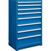 "Global™ Modular Drawer Cabinet, 8 Drawers, w/Lock, w/o Dividers, 36""Wx24""Dx57""H Blue"