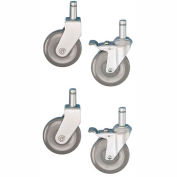 "Nexel - 5"" (2) Rigid, (2) Swivel Casters CA5RSB with (2) Brakes (Set of 4)"
