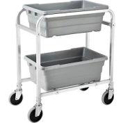 "NSF Aluminum Lug Cart 28""L x 16""W x 33""H,  2 Tote Capacity, Unassembled"