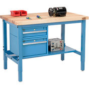 "48""W X 30""D Production Workbench - Maple Butcher Block Square with Drawers & Shelf - Blue"