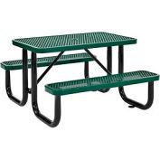 "48"" Rectangular Expanded Metal Picnic Table Green"