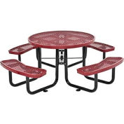"46"" Round Outdoor Steel Picnic Table - Expanded Metal - Red"