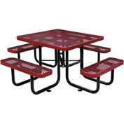 "46"" Square Expanded Metal Picnic Table Red"