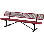 """96""""  Expanded Metal Mesh Bench With Back Rest Red"""