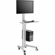 Mobile Height Adjustable Desktop Computer Workstation with 4-Outlet Power Strip