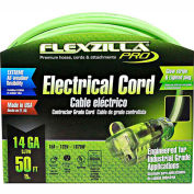Flexzilla 721-143050FZL5F Pro Extension Cord, 50', 14/3, All-weather, Lighted Plug, ZillaGreen