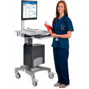 Mobile Standing Point of Care Medical Workstation / Computer PC Cart - Height Adjustable Pneumatic