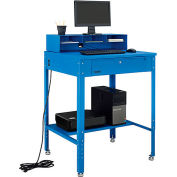"Shop Desk w Pigeonhole Compartments, Flat Top 34-1/2""W x 30""D x 38 to 42-1/2""H - Blue"
