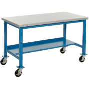"""48""""W x 30""""D Mobile Production Workbench with Power Apron - ESD Square Edge - Blue"""