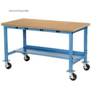 """48""""W x 30""""D Mobile Production Workbench with Power Apron - Maple Butcher Block Safety Edge - Blue"""