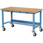 "48""W x 30""D Mobile Production Workbench with Power Apron - Shop Top Safety Edge - Blue"