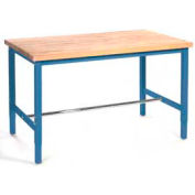 """72""""W x 30""""D Production Workbench - Finished Birch Butcher Block Square Edge - Blue"""