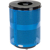 Global Industrial™ Deluxe Thermoplastic 32 Gallon Perf Receptacle w/Flat Lid & Base - Blue