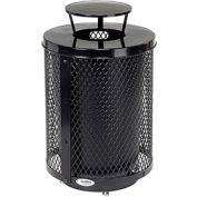 Global Industrial™ Deluxe Thermoplastic 32 Gallon Mesh Receptacle w/Rain Bonnet & Base - Black