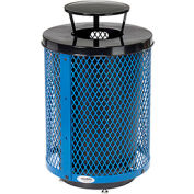 Global Industrial™ Deluxe Thermoplastic 32 Gallon Mesh Receptacle w/Rain Bonnet & Base - Blue