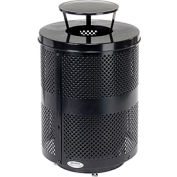 Global Industrial™ Deluxe Thermoplastic 32 Gallon Perforated Receptacle w/Rain Bonnet & Base-BK