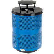 Global Industrial™ Deluxe Thermoplastic 32 Gallon Perforated Receptacle w/Rain Bonnet & Base-BL