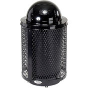 Global Industrial™ Deluxe Thermoplastic 32 Gallon Mesh Receptacle w/Dome Lid & Base - Black
