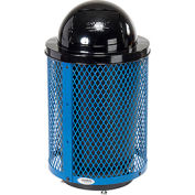Global Industrial™ Deluxe Thermoplastic 32 Gallon Mesh Receptacle w/Dome Lid & Base - Blue