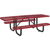"96"" ADA Expanded Metal Picnic Table, Red"