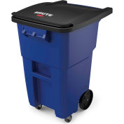 Rubbermaid Brute® Rollout Waste Container W/ Casters 50 Gallon Blue - 1971961 - Pkg Qty 2