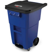 Rubbermaid Brute® Step-On Rollout Waste Container W/ Casters 50 Gallon Blue - 1971964