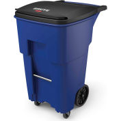 Rubbermaid Brute® Rollout Waste Container W/ Casters 65 Gallon Blue - 1971973