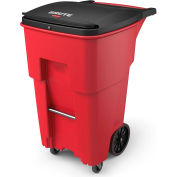 Rubbermaid Brute® Medical Waste Rollout Container W/ Casters 65 Gallon Red - 1971977