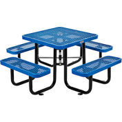 """36"""" Square Expanded Metal Picnic Table Blue"""