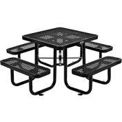 "36"" Square Expanded Metal Picnic Table Black"