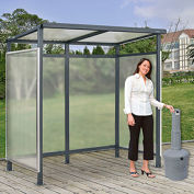"Bus Smoking Shelter Flat Roof 3-Side Open Front With Gray 5 Gallon Outdoor Ashtray 6'5""Wx3'8""Dx7'H"