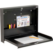 "Folding Wall Mounted Locking Shop Desk, 20""W x 3-3/8""D x 16-3/8""H, Black"