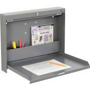 "Folding Wall Mounted Locking Shop Desk, 20""W x 3-3/8""D x 16-3/8""H, Gray"