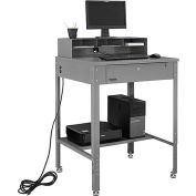 "Shop Desk with Pigeonhole Compartment Riser 34-1/2""W x 30""D x 38""H Flat Surface - Gray"