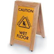 "CAUTION WET FLOOR Sign With Rubber Feet, 12""x20"", Light Oak"