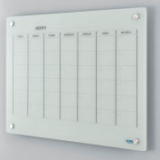 Glass Calendar Whiteboard - 36 x 24 - Magnetic - White