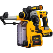 "DeWALT DCH273P2DH 20V MAX 1"" Cordless SDS-plus Brushless L-Shape Rotary Hammer Kit & Dust Extractor"