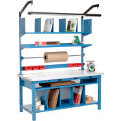"""Global Industrial™ Complete Packing Workbench W/Power Apron, Laminate Square Edge, 72""""W x 30""""D"""