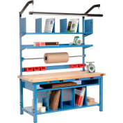 Global Industrial™ Complete Electric Packing Workbench Maple Butcher Block Safety Edge 72 x 30