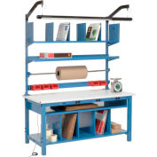 """Global Industrial™ Complete Packing Workbench W/Power Apron, ESD Safety Edge, 60""""W x 30""""D"""