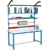 Electric Packing Workbench Plastic Square Edge - 72 x 30 with Riser Kit
