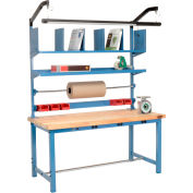 """Global Industrial™ Packing Workbench W/Riser Kit & Power Apron, Maple Square Edge, 72""""W x 30""""D"""
