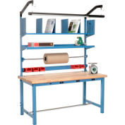 """Global Industrial™ Packing Workbench W/Riser Kit & Power Apron, Maple Safety Edge, 60""""W x 30""""D"""